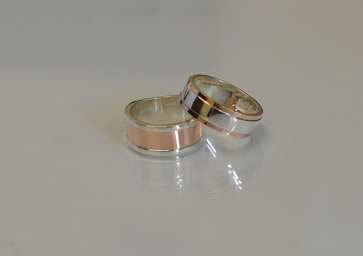 Пара серебряных обручальных колец с золотыми пластинами Обр3Обр6 15