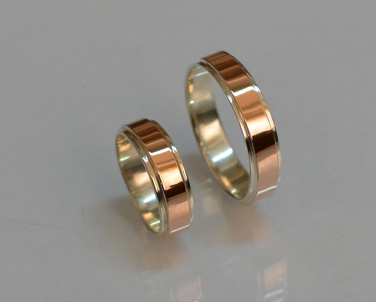 Серебряное обручальное кольцо с золотыми пластинами ОБР-5 15
