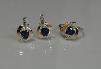 Серебряный набор украшений кольцо и серьги 091 15
