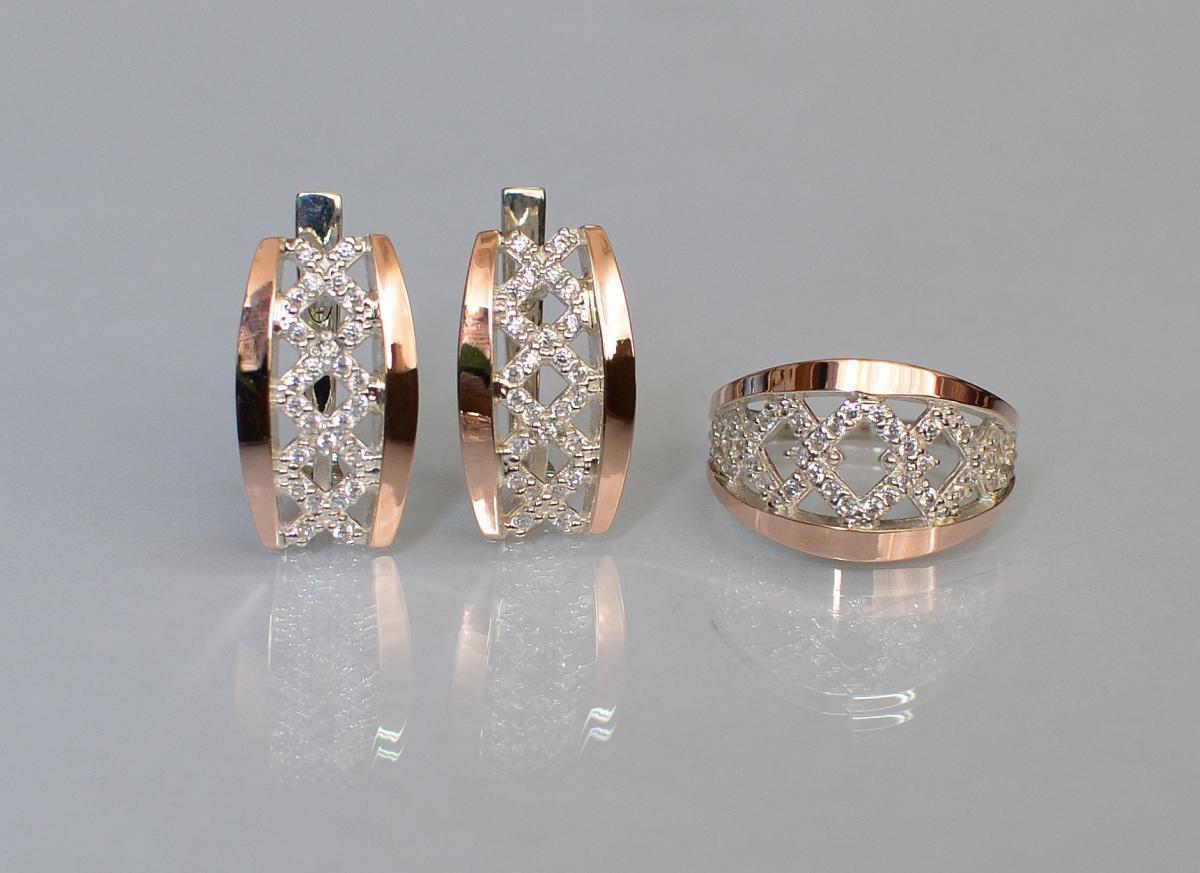 Набор украшений серебро с золотом 087 15