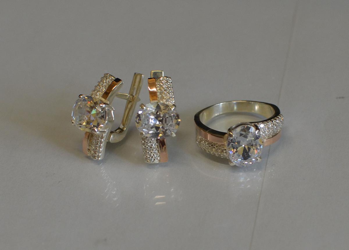 Набор украшений серебряный с золотыми пластинами и фианитами 096 15