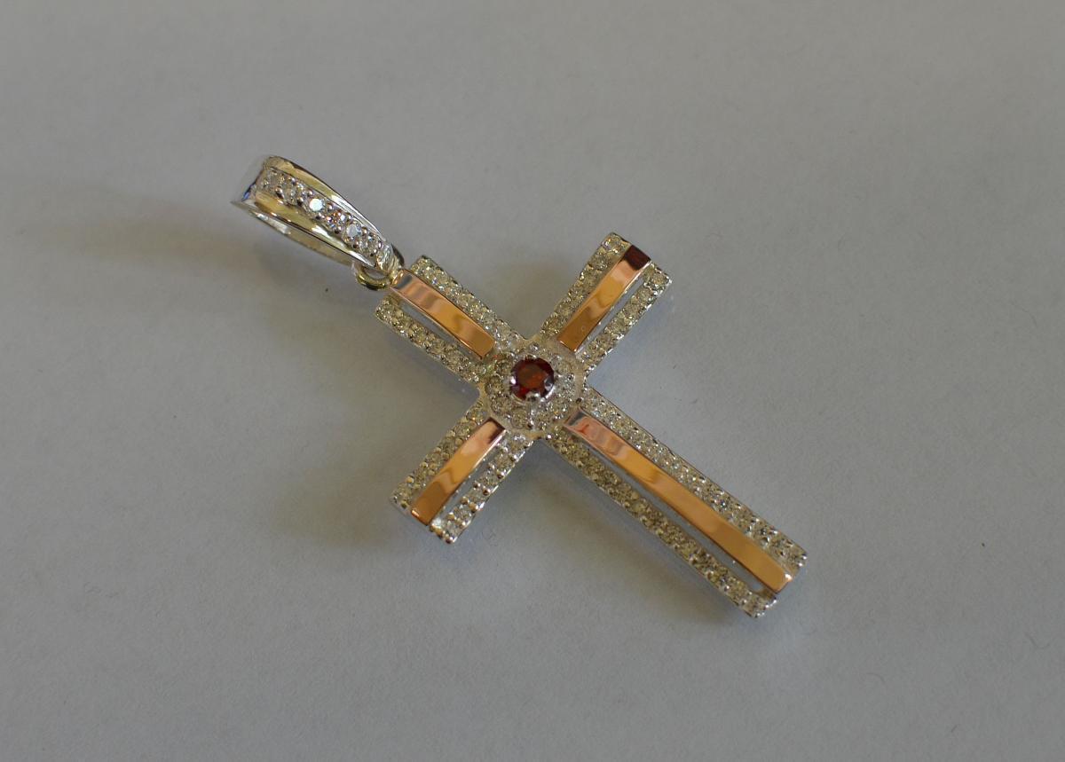 Серебряный крестик с напайками из золота к-4