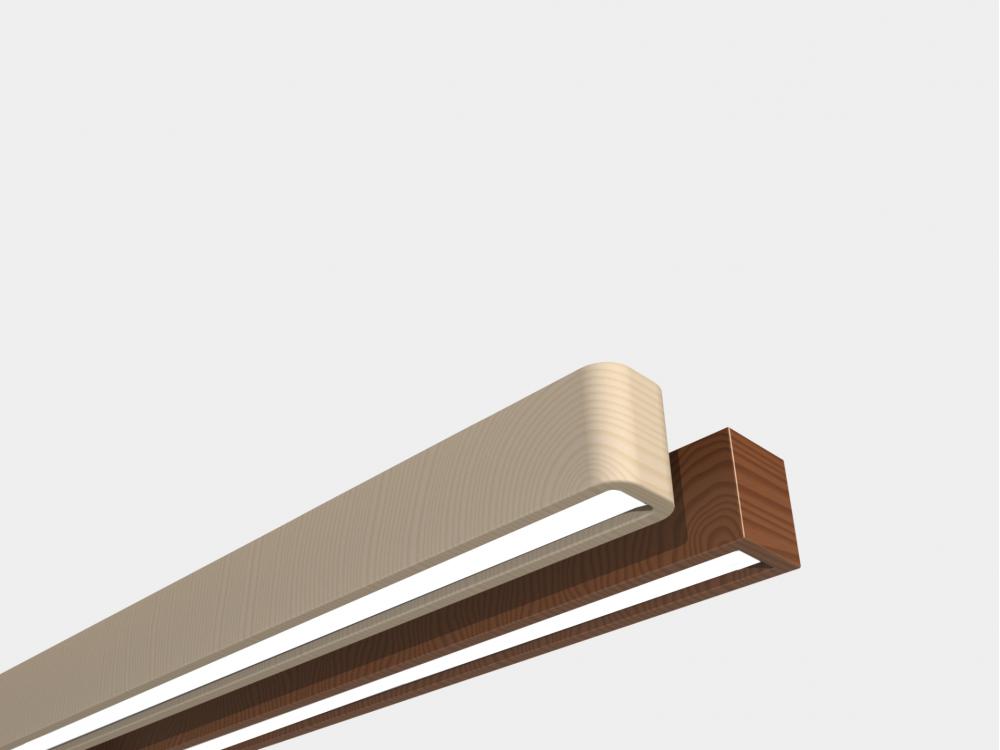 Лінійний деревяний світильник 22Вт 2800лм WOODLINE-60см інтер'єру єрний підвісний