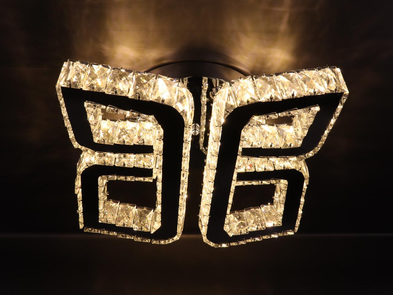 Люстра потолочная хрустальная LED с пультом C1877/400 Хром 17х40х40 см.