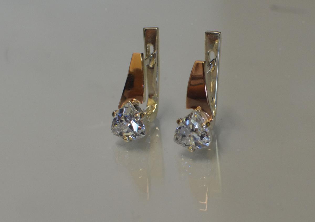 Серебряные серьги с напайками из золота 008с