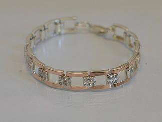 Срібний браслет з золотими пластинами Бр15