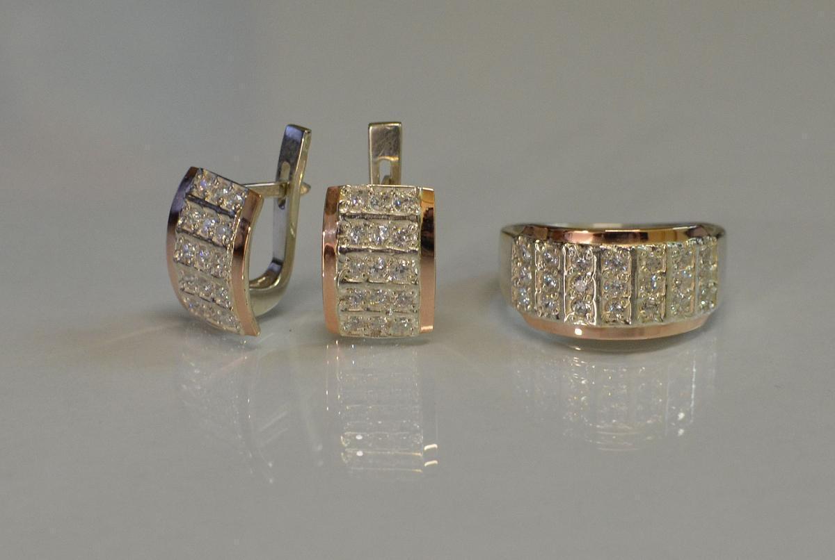 Серебряный комплект украшений с напайками из золота 001 15
