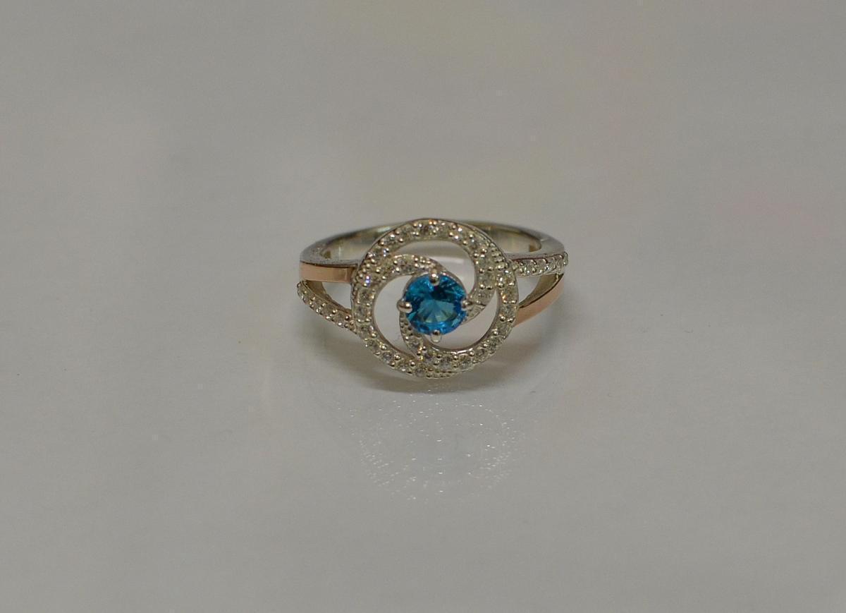 Серебряное кольцо 115к 15 Голубой