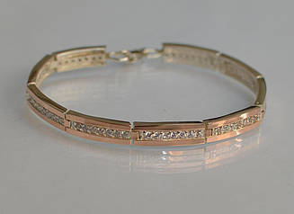 Срібний браслет з золотими напайками Бр1