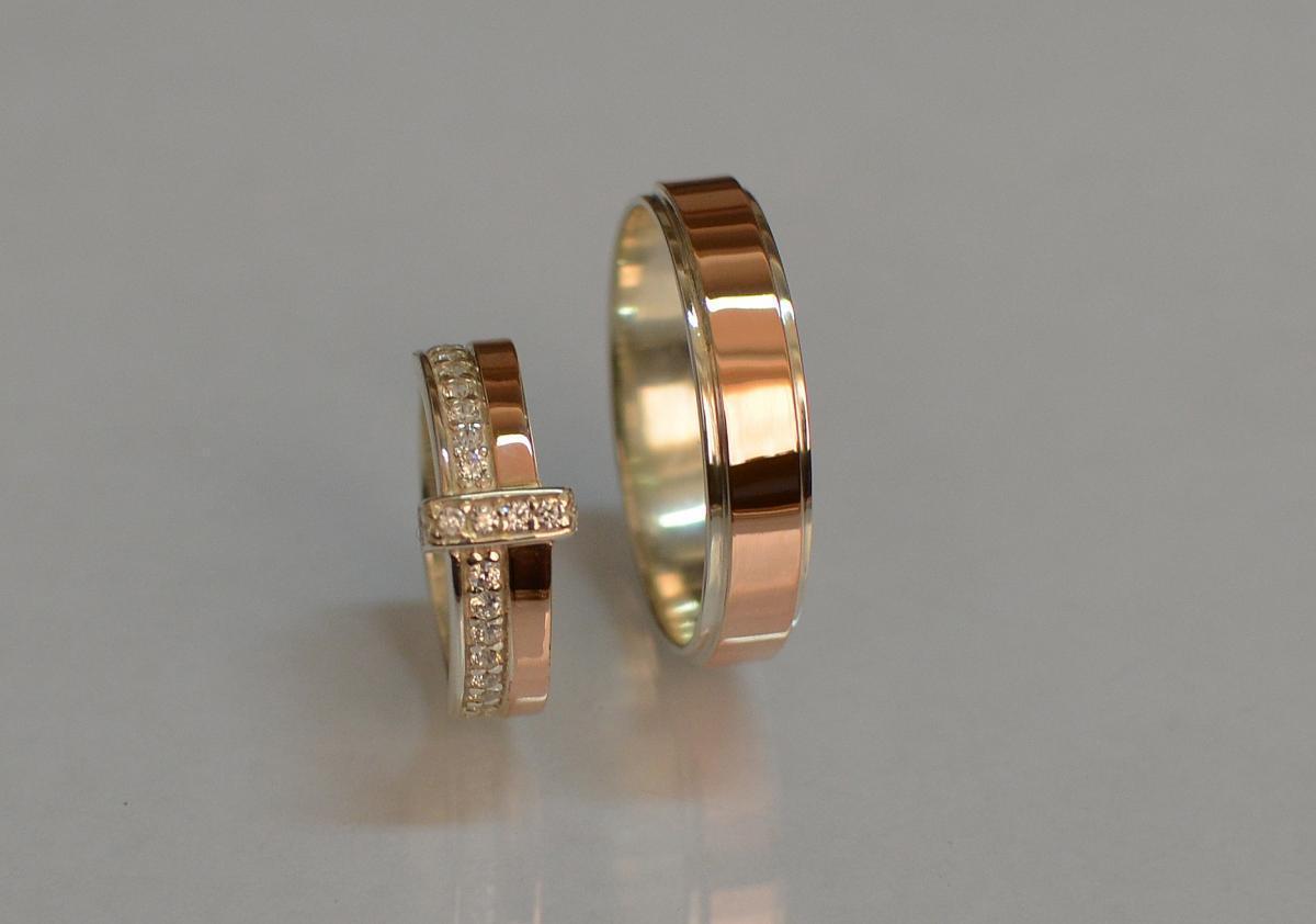 Пара обручальных колец из серебра Обр5101к 15