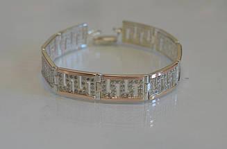 Срібний браслет з золотими пластинами Бр12