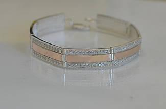 Срібний браслет з пластинами із золота Бр5