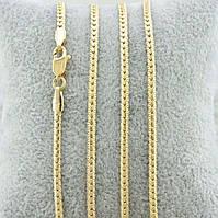 Цепочка Xuping Jewelry 60 см х 3 мм Сколоченная плоская медицинское золото, позолота 18К А/В 5026