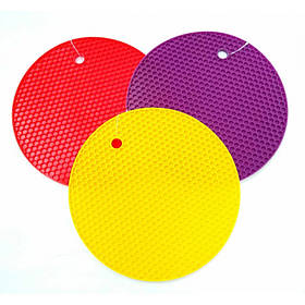Подставка под горячее силиконовая круглая d-17.5 см Genes желтая