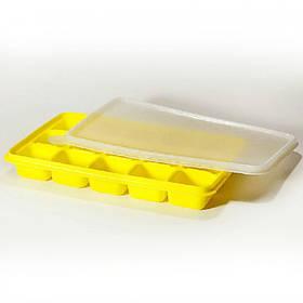 Силиконовая форма Ytech для льда с силиконовой крышкой 15 кубиков по 17 х 11 см желтая