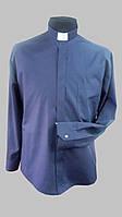 Рубашка для священников  темно-синего  цвета с длинным рукавом, фото 1