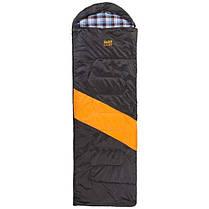 Спальник GreenCamp, одеяло, 450гр/м2, черно/оранжевый, фото 3