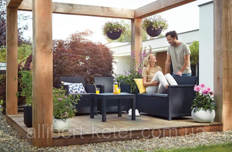 Комплект садовой мебели Allibert Emma 2 Seater Sofa Set Smooth Arms With Classic Table