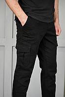 Джоггеры мужские черные с накладными карманами