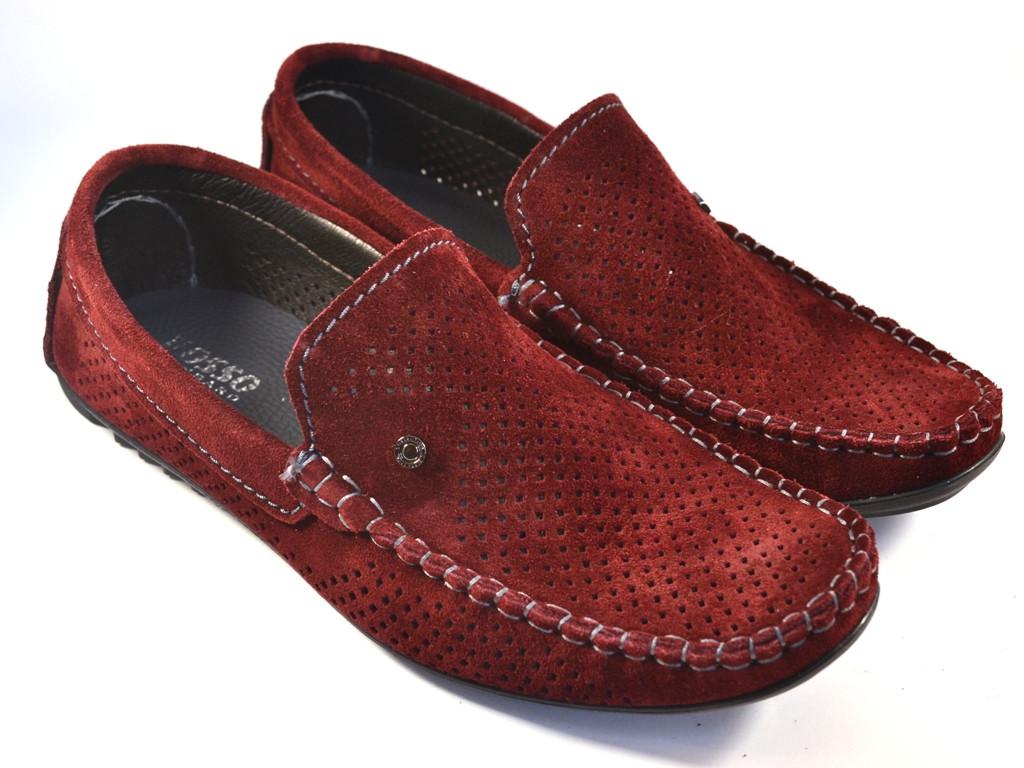 Мокасины мужские перфорированные летние бордовые обувь цвет марсала Rosso Avangard Guerin M4 Perf Bordeaux