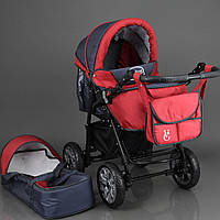 Коляска для детей с надувными колесами Viki 86- C 18 Серо-Красный