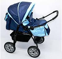 Коляска для детей с большими колесами Viki 86- С-14 темно-синий с голубым