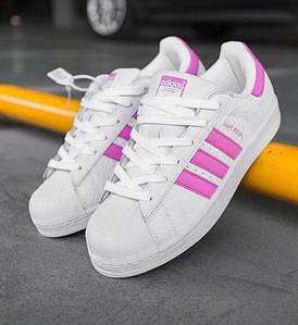 Женские кроссовки Adidas Superstar White/Pink