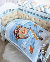 """Комплект в детскую кроватку """"Мишка-пилот, бортики с перетяжкой"""""""