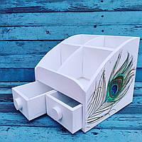 Шкатулка органайзер ручной работы из фанеры для косметики. Оригинальный подарок для женщины девушки девочки.