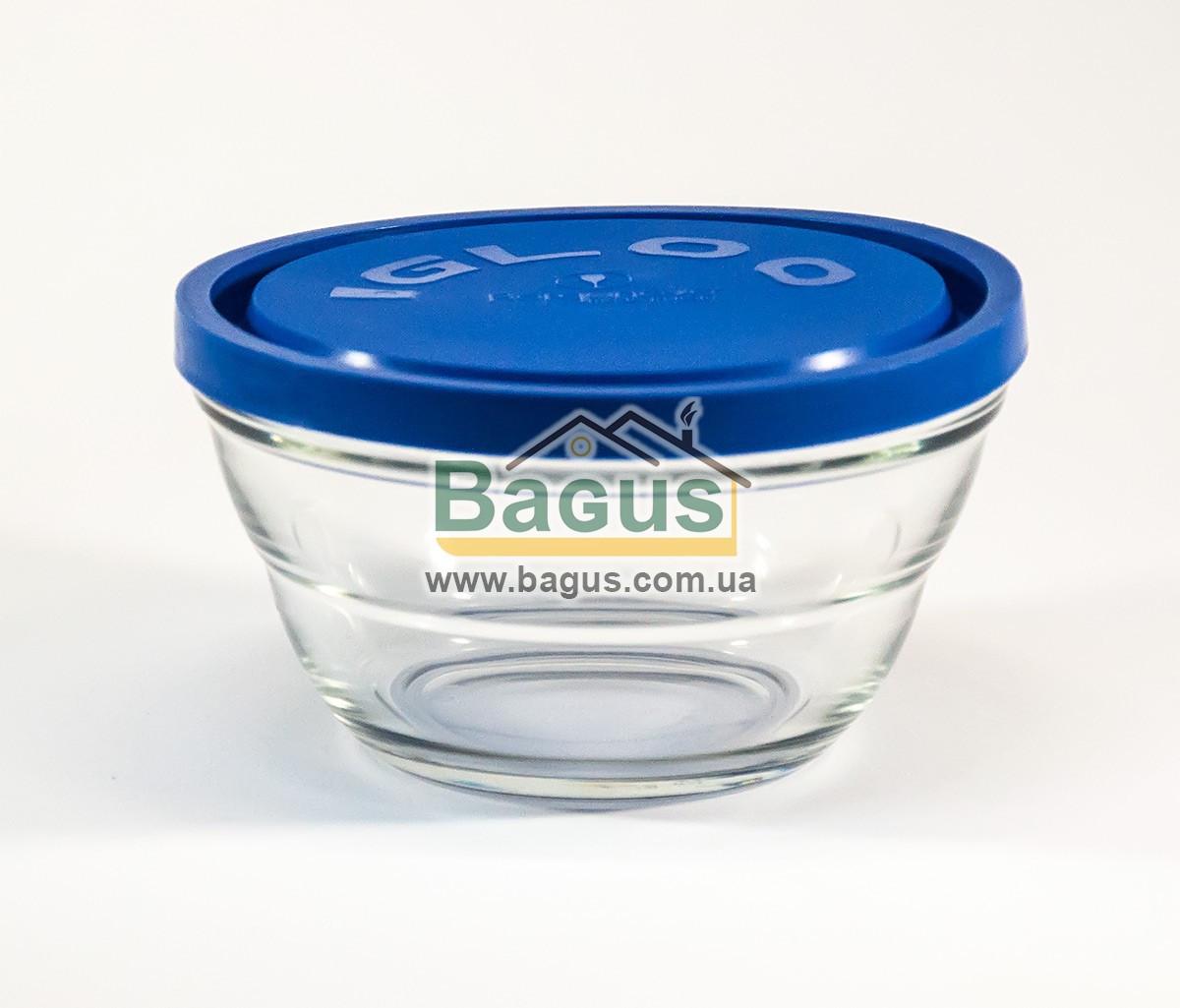 """Емкость (судок) для продуктов 0,67л 14см круглая стеклянная с крышкой """"Lambada"""" Borgonovo 14075221"""