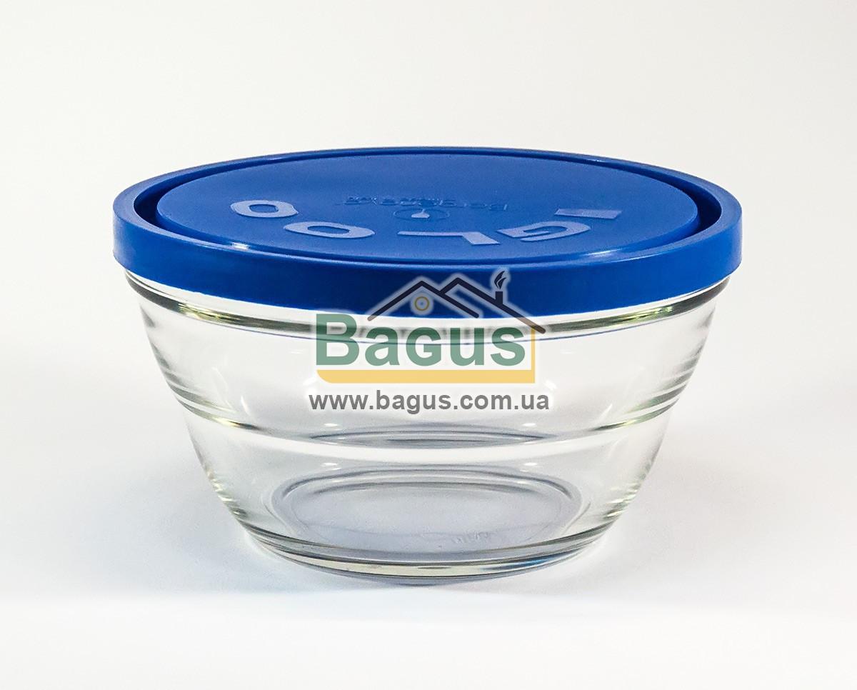 """Емкость (судок) для продуктов 1,2л 17см круглая стеклянная с синей крышкой """"Lambada"""" Borgonovo 14075420-1"""