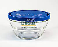 """Емкость (судок) для продуктов 1,2л 17см круглая стеклянная с синей крышкой """"Lambada"""" Borgonovo 14075420-1, фото 1"""