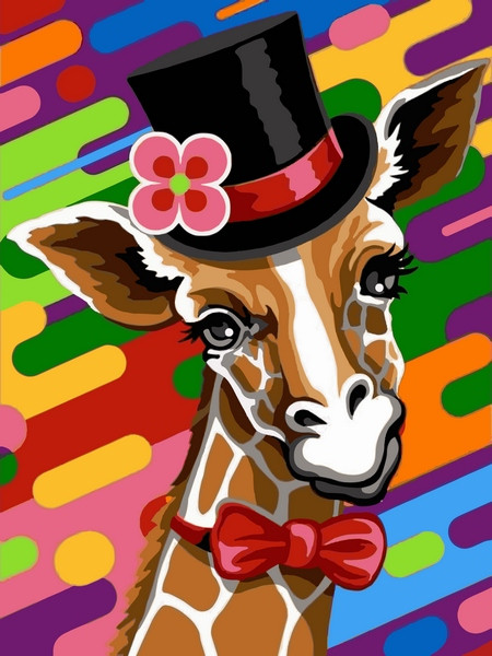 Картина по номерам Жираф в шляпе, 30x40 см., Babylon
