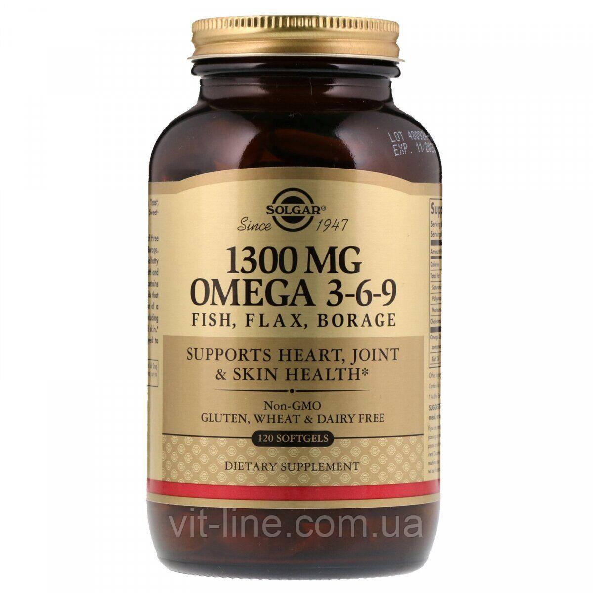 Solgar, Незаменимая жирная кислота, Омега 3-6-9, 1300 мг, 120 капсул