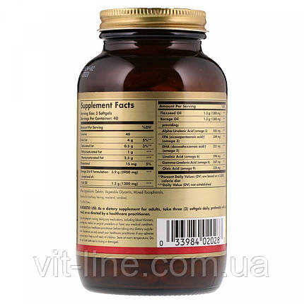 Solgar, Незаменимая жирная кислота, Омега 3-6-9, 1300 мг, 120 капсул, фото 2