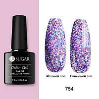 Гель-лак для ногтей маникюра 7.5мл UR Sugar, 754 с блестками