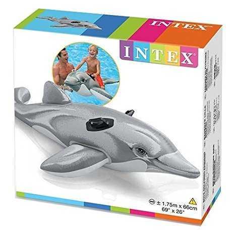 """Intex Детский надувной плотик 58535 NP (6) """"Дельфин"""" размером 175х66см, от 3 лет"""