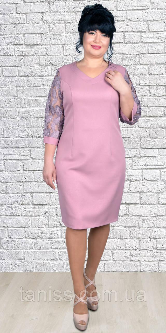 Женское,весеннее, нарядное, приталенное платье,с V-образным вырезом.размеры 54-60 (1991) розовое