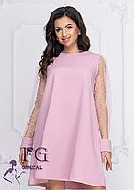 Прямое платье на вечер однотонное с прозрачными рукавами марсала, фото 2