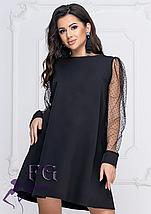 Прямое платье на вечер однотонное с прозрачными рукавами марсала, фото 3