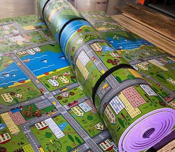 Детский игровой коврик Городок  2 м на 1,2 м 8 мм толщиной