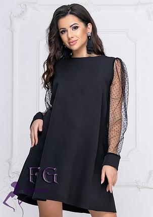 Однотонное платье до колен А-силуэта с длинными рукавами черное, фото 2
