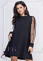 Однотонное платье до колен А-силуэта с длинными рукавами черное
