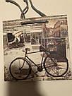 Подарочный бумажный крафтовый пакет ЧАШКА 16*16*8 см Вело, фото 2