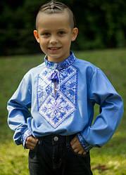 Детская вышиванка Говерла (м)длинный рукав, р,110,116,122,140 джинс голубой, дитяча вишиванка
