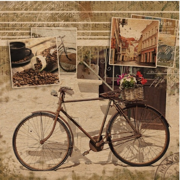 Подарочный бумажный крафтовый пакет ЧАШКА 16*16*8 см Вело