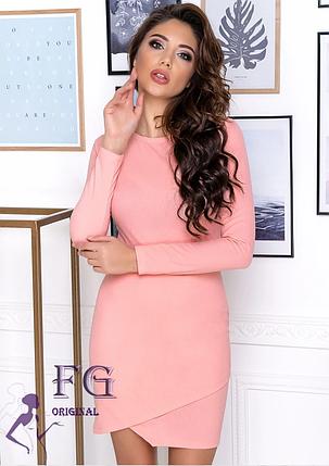 Однотонное платье по фигуре выше колен длинный рукав марсала, фото 2