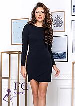 Однотонное платье по фигуре выше колен длинный рукав марсала, фото 3