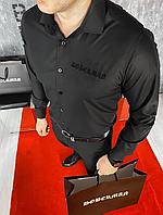 Мужская стильная черная классическая рубашка