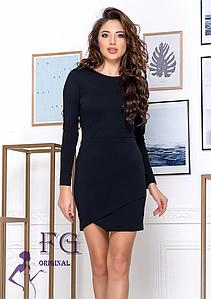 Черное стильное платье мини ассиметричный крой длинный рукав